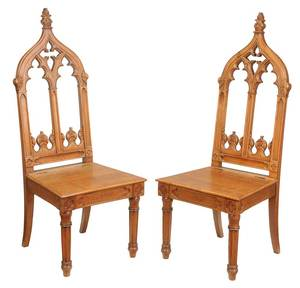 Pair Gothic Revival Carved Oak Hall Chairs