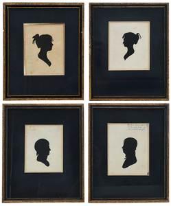 Four Framed Silhouette Profile Portraits