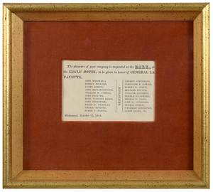 Two Framed Invitations, Adams and Lafayette