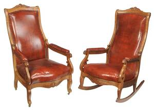 Two Similar Carved Open Armchairs