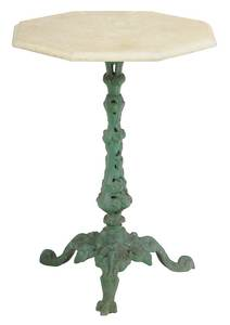 French Cast Iron Marble Top Garden Table