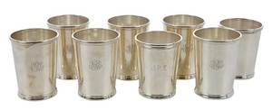 Eight Sterling Mint Julep Cups