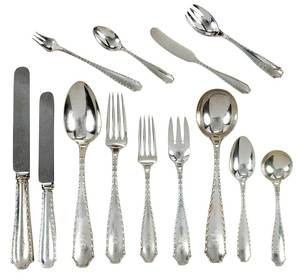 Tiffany Marquise Sterling Flatware, 134 Pieces