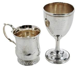 Southern Coin Silver Mug and Goblet