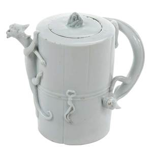 Dehua Blanc de Chine Wine Pot with Chilongs