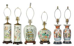 Six Asian Export Porcelain Vases, Jars