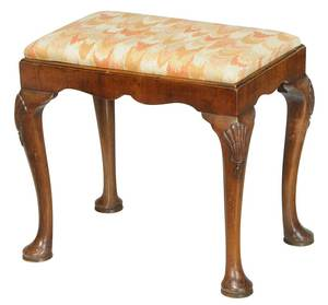 Queen Anne Style Shell Carved Footstool