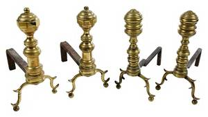 Two Pairs Miniature Brass Andirons