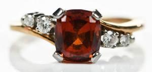 Jabel 18kt. Gold Garnet & Diamond Ring