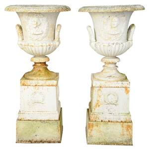 Pair George Washington Cast Iron Garden Urns