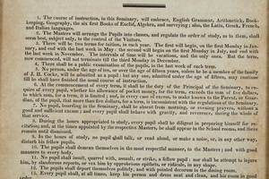 1820 Bremo Seminary Framed Rules and Regulations
