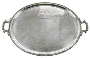 Large Old Sheffield Plated Silver Tray