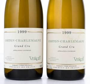 Two Bottles 1999 Verget Corton-Charlemagne Grand Cru