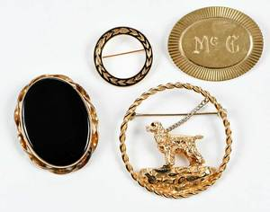 Three 14kt. Gold Brooches, One Gold Filled Brooch