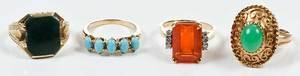 Four Gold & Gemstone Rings
