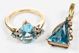 Two Pieces 14kt., Blue Topaz & Diamond Jewelry
