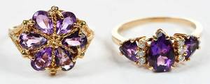 Two 14kt. Gold & Amethyst Rings