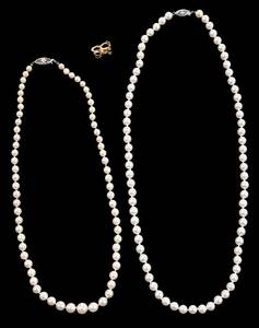 Two 14kt. Gold Pearl Necklaces & Enhancer