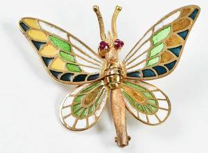14kt. Gold Plique-a-Jour Butterfly Brooch