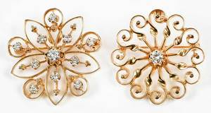 Two 14kt. Gold & Diamond Brooches