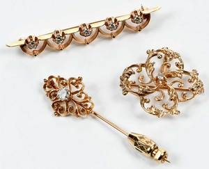 Three 14kt. Gold & Diamond Brooches