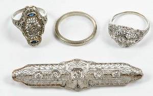 Four Pieces Antique Gold & Diamond Jewelry