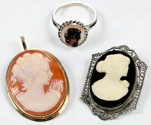 Three Pieces Gold Cameo Jewelry