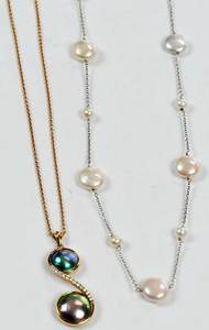 Two Gold & Pearl Necklaces