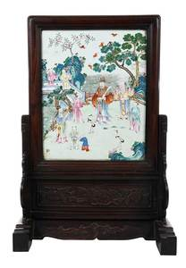 Chinese Porcelain Screen with Carved Stand