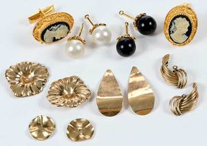 Earring Jackets and Cameo Cufflinks