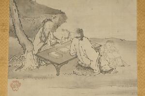 Two Japanese Landscape Scrolls, Sages Reading