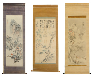 Three Japanese Mountain Landscape Scrolls