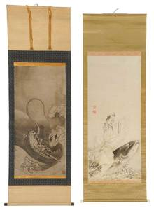 Two Japanese Scrolls, Dragon, Carp