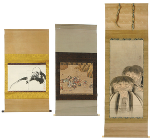 Three Japanese Scrolls with Figures