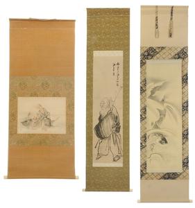 Three Japanese Scrolls, Fisherman, Carp