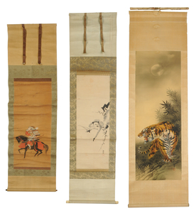 Three Japanese Scrolls with Animals