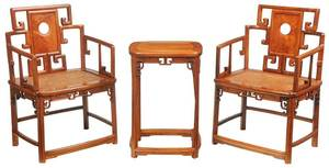 Pair Chinese Carved Hardwood Armchairs, Table