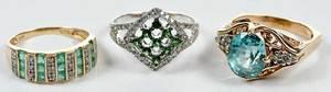 Three 14kt. Gold, Diamond & Gemstone Rings