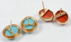 Two 14kt. Gold & Gemstone Earrings