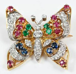 Platinum, 18kt. Gold, Diamond & Gemstone Brooch