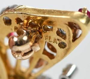 Platinum, 18kt. Gold, Diamond & Gemstone Brooch
