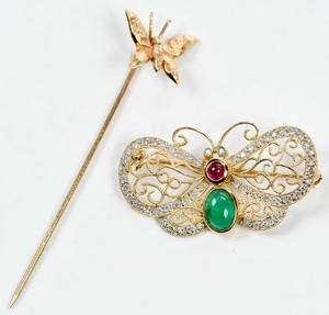 Two 14kt. Gold & Gemstone Brooches