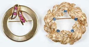 Two Retro 14kt. Gold & Gemstone Brooches