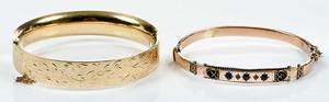 Two Gold Hinged Bangle Bracelets