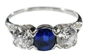 Platinum, Kashmir Sapphire and Diamond Ring
