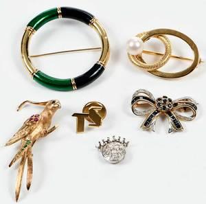Six Gold & Gemstone Pieces Of Jewelry