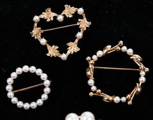 Four Pieces 14kt. Gold & Pearl Jewelry