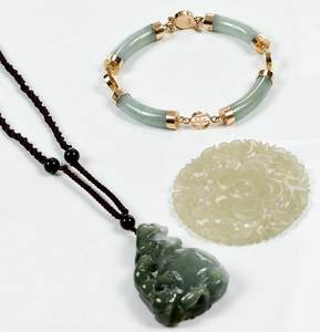 Three Green Hardstone Pieces
