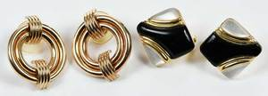 Two Pairs 14kt. Gold Earrings
