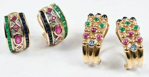 Two Pairs 14kt. Gold & Gemstone Earrings